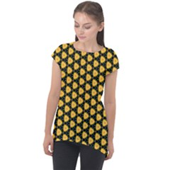 Pattern Halloween Pumpkin Color Yellow Cap Sleeve High Low Top