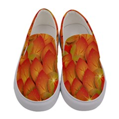 Pattern Texture Leaf Women s Canvas Slip Ons