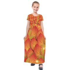 Pattern Texture Leaf Kids  Short Sleeve Maxi Dress by Desi8477