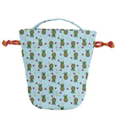 Pineapple Watermelon Fruit Lime Drawstring Bucket Bag