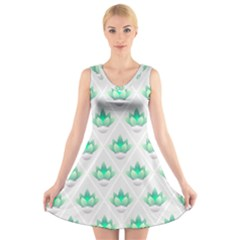 Plant Pattern Green Leaf Flora V Neck Sleeveless Dress