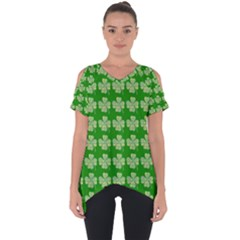 Plaid Shamrocks Clover Cut Out Side Drop Tee