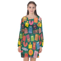 Presents Gifts Background Colorful Long Sleeve Chiffon Shift Dress