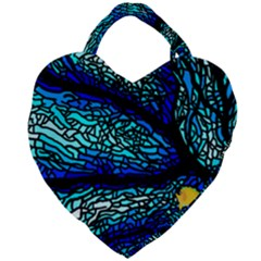 Sea Coral Stained Glass Giant Heart Shaped Tote