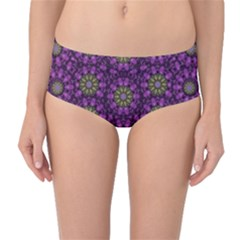 Ornate Heavy Metal Stars In Decorative Bloom Mid Waist Bikini Bottoms by pepitasart