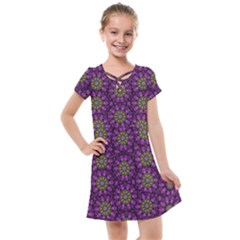 Ornate Heavy Metal Stars In Decorative Bloom Kids  Cross Web Dress