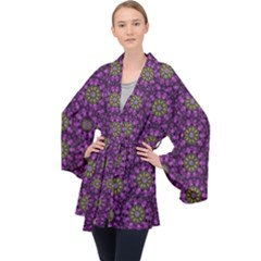 Ornate Heavy Metal Stars In Decorative Bloom Velvet Kimono Robe