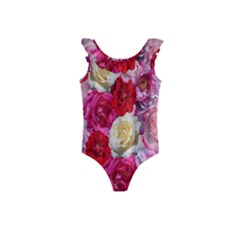 Bed Of Roses Kids  Frill Swimsuit by retrotoomoderndesigns
