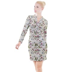 Vintage Roses Button Long Sleeve Dress by retrotoomoderndesigns