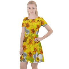 Daffodil Surprise Cap Sleeve Velour Dress