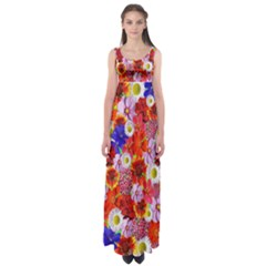 Multicolored Daisies Empire Waist Maxi Dress by retrotoomoderndesigns