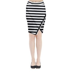 Black Stripes Midi Wrap Pencil Skirt by snowwhitegirl