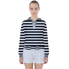 Black Stripes Women s Tie Up Sweat by snowwhitegirl
