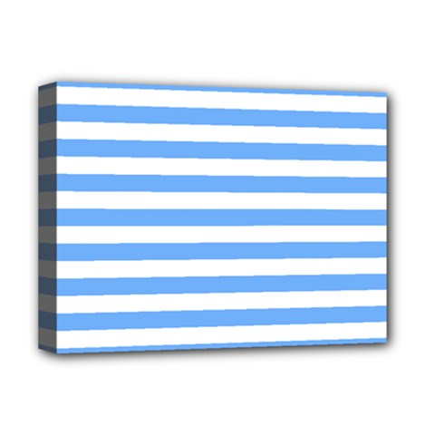 Blue Stripes Deluxe Canvas 16  X 12  (stretched)  by snowwhitegirl