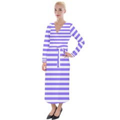 Lilac Purple Stripes Velvet Maxi Wrap Dress by snowwhitegirl