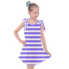 Lilac Purple Stripes Kids  Tie Up Tunic Dress
