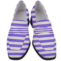 Lilac Purple Stripes Women s Chunky Heel Loafers