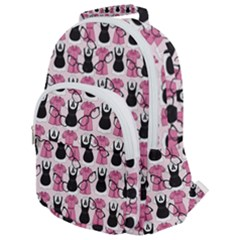 Waitress Uniform Dresses Nerdy Glasses Pattern Pink Rounded Multi Pocket Backpack