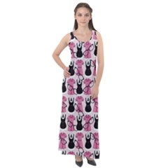 Waitress Uniform Dresses Nerdy Glasses Pattern Pink Sleeveless Velour Maxi Dress