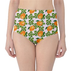 Citrus Tropical Orange Pink Classic High Waist Bikini Bottoms