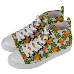 Citrus Tropical Orange Pink Women s Mid Top Canvas Sneakers by snowwhitegirl