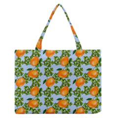 Citrus Tropical Orange Blue Zipper Medium Tote Bag by snowwhitegirl