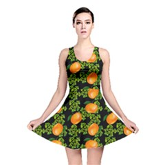 Citrus Tropical Orange Black Reversible Skater Dress