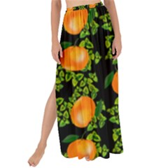 Citrus Tropical Orange Black Maxi Chiffon Tie Up Sarong