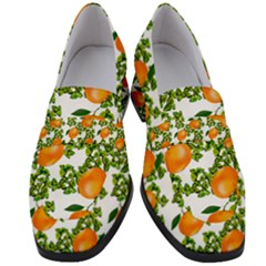 Citrus Tropical Orange White Women s Chunky Heel Loafers