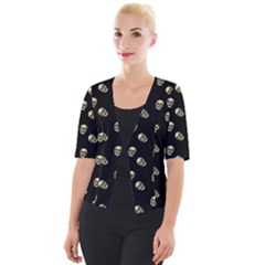 Skull Black Pattern Cropped Button Cardigan