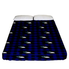 Eyes Blue Plaid Fitted Sheet (king Size) by snowwhitegirl