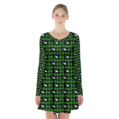 Eyes Green Plaid Long Sleeve Velvet V Neck Dress by snowwhitegirl