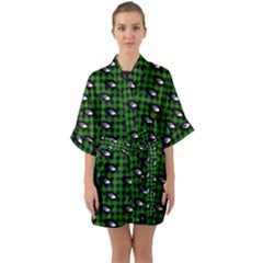Eyes Green Plaid Quarter Sleeve Kimono Robe