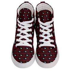 Eyes Red Plaid Women s Hi Top Skate Sneakers