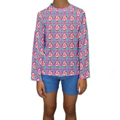 Peppermint Candy Pink Plaid Kids  Long Sleeve Swimwear