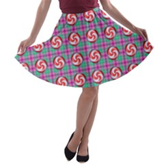 Peppermint Candy Pink Plaid A Line Skater Skirt