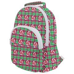 Peppermint Candy Green Plaid Rounded Multi Pocket Backpack