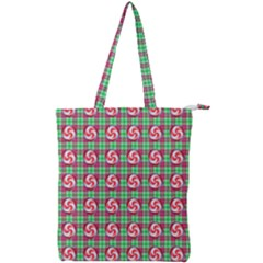 Peppermint Candy Green Plaid Double Zip Up Tote Bag