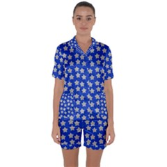 Silver Stars Royal Blue Satin Short Sleeve Pyjamas Set