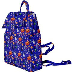 Halloween Treats Pattern Blue Buckle Everyday Backpack