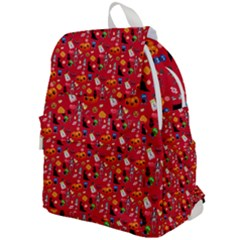 Halloween Treats Pattern Red Top Flap Backpack