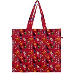 Halloween Treats Pattern Red Canvas Travel Bag