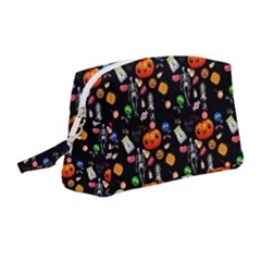 Halloween Treats Pattern Black Wristlet Pouch Bag (medium)