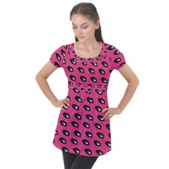 Eyes Dark Pink Puff Sleeve Tunic Top