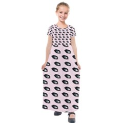 Eyes Pink Kids  Short Sleeve Maxi Dress by snowwhitegirl