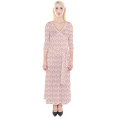 Damask Peach Quarter Sleeve Wrap Maxi Dress