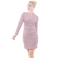 Damask Peach Button Long Sleeve Dress