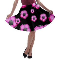 Wallpaper Ball Pattern Pink A Line Skater Skirt