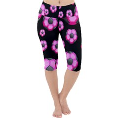 Wallpaper Ball Pattern Pink Lightweight Velour Cropped Yoga Leggings