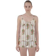 Lotus Flower Waterlily Wallpaper Tie Front Two Piece Tankini